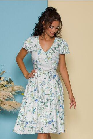 Rochie Ella Collection Megan alba cu imprimeu floral bleu si cordon in talie