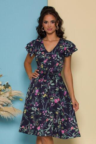 Rochie Ella Collection Megan bleumarin cu imprimeu floral bleu si cordon in talie