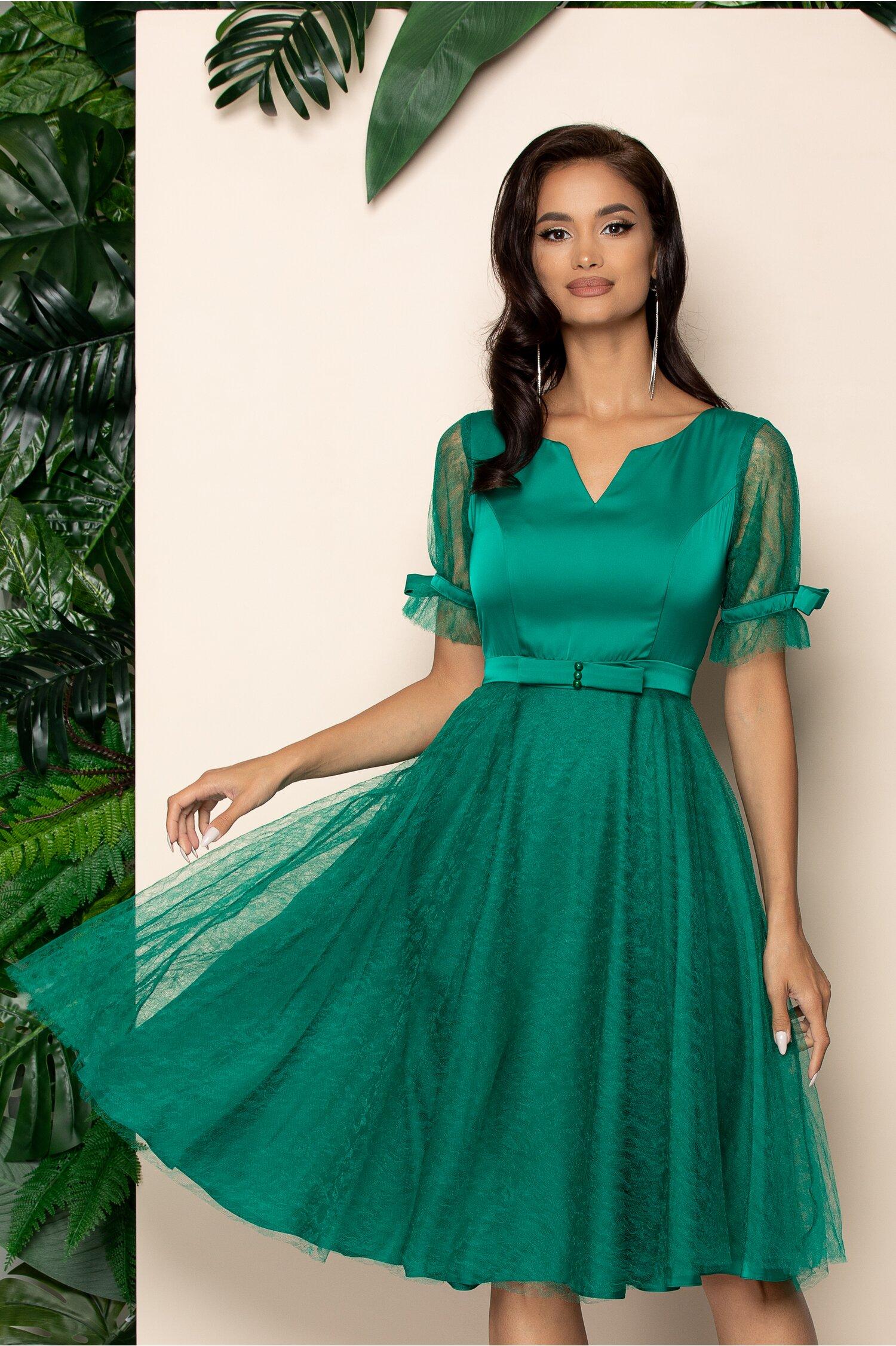 Rochie Ella Collection Mia verde accesorizata cu fundita in talie