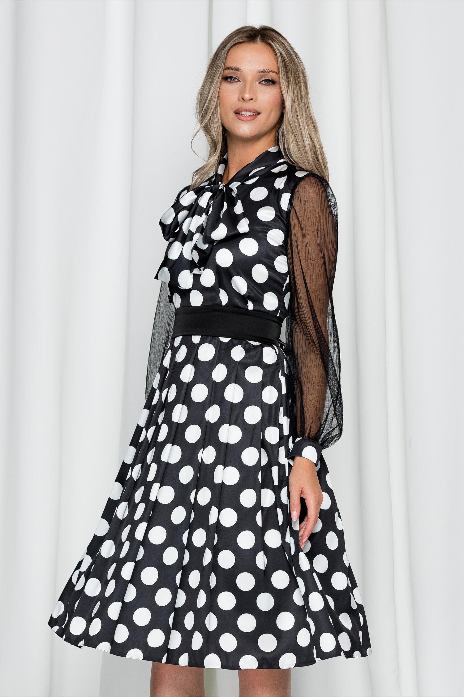 Rochie Ella Collection Monique neagra cu buline si maneci din tulle