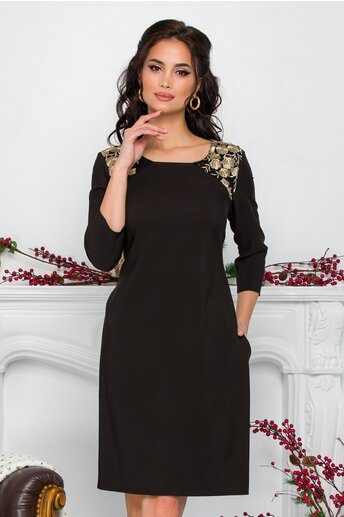 Rochie Ella Collection Nati neagra cu broderie florala aurie la umeri