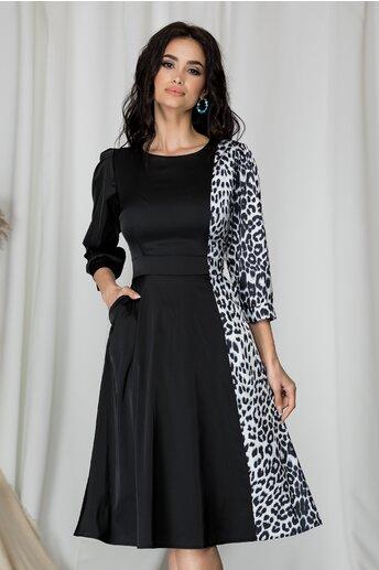 Rochie Ella Collection neagra cu imprimeu animal print gri
