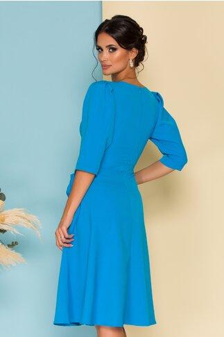 Rochie Ella Collection Quinn albastra cu fundite la buzunare
