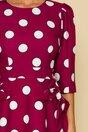 Rochie Ella Collection Quinn bordo cu buline si fundite la buzunare