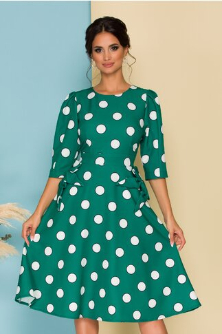 Rochie Ella Collection Quinn verde cu buline si fundite la buzunare