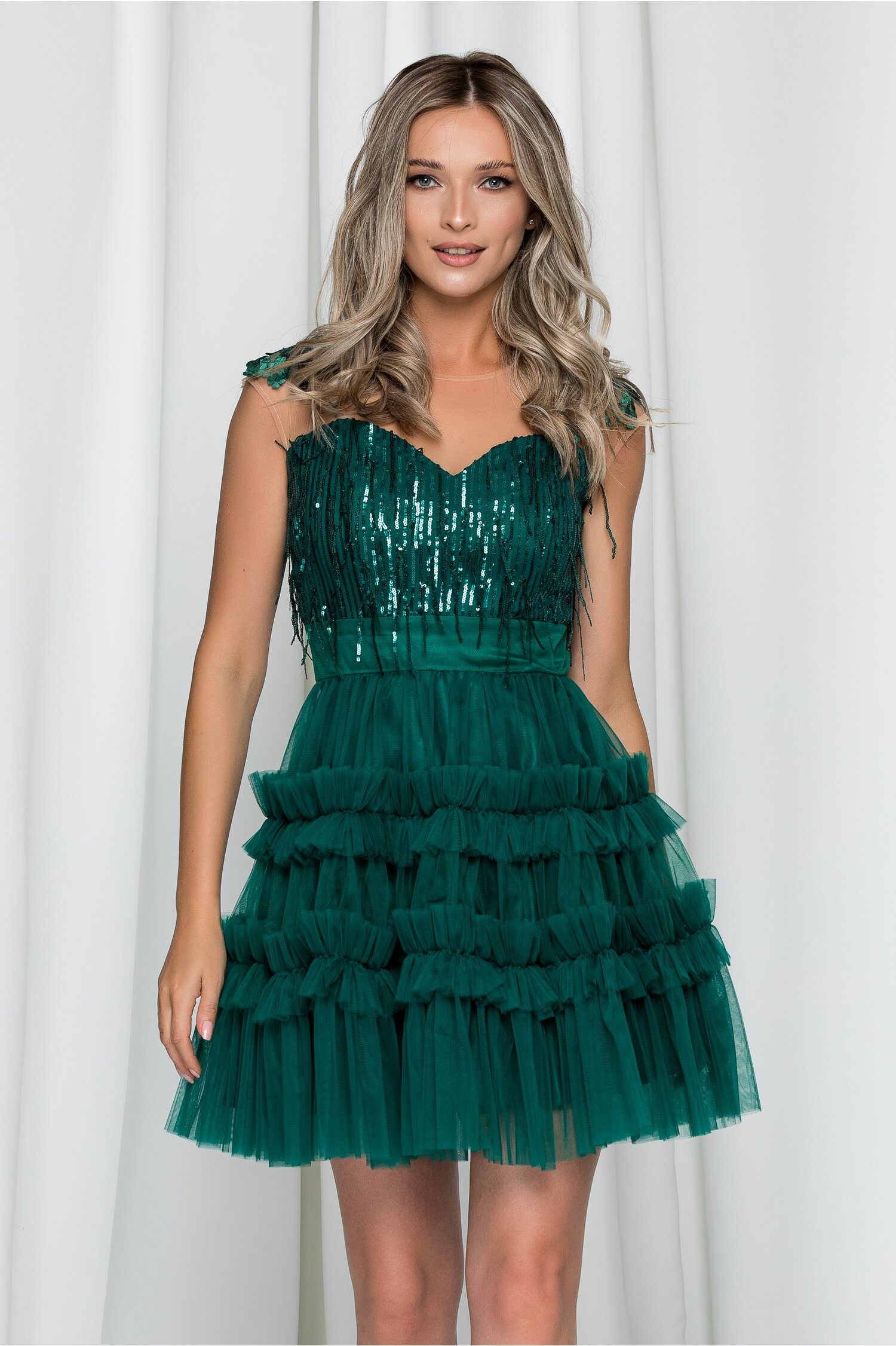 Rochie Ella Collection Renata verde din tulle accesorizata cu paiete si broderie
