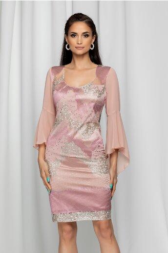Rochie Ella Collection Rina roz cu maneci evazate si strasuri