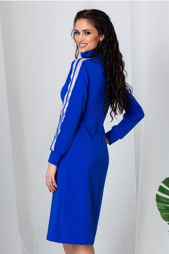 Rochie Ella Collection Robin albastra cu fermoar