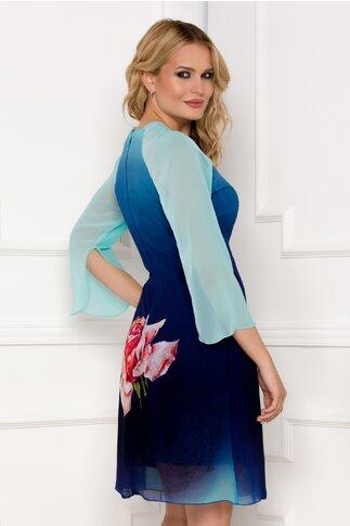 Rochie Ella Collection Roua albastra din voal cu trandafir imprimat