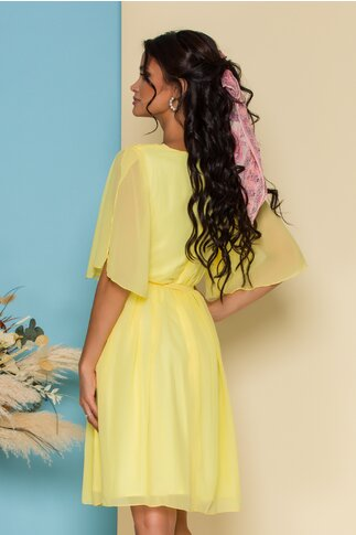Rochie Ella Collection Roxi din voal galben cu manecile decupate