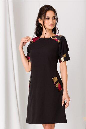 Rochie Ella Collection Sandra neagra cu imprimeu rosu cu auriu