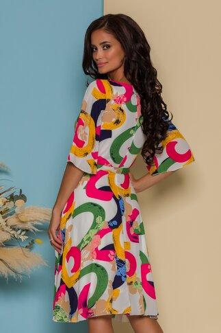 Rochie Ella Collection Simona alba cu imprimeuri colorate