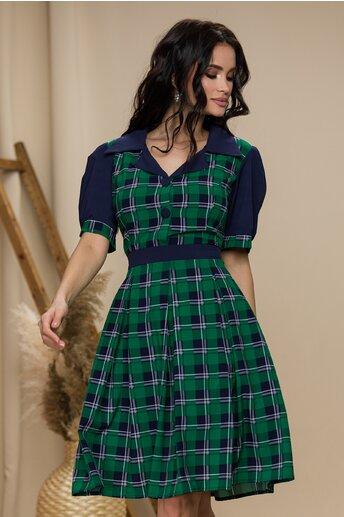 Rochie Ella Collection Simona bleumarin cu carouri verzi