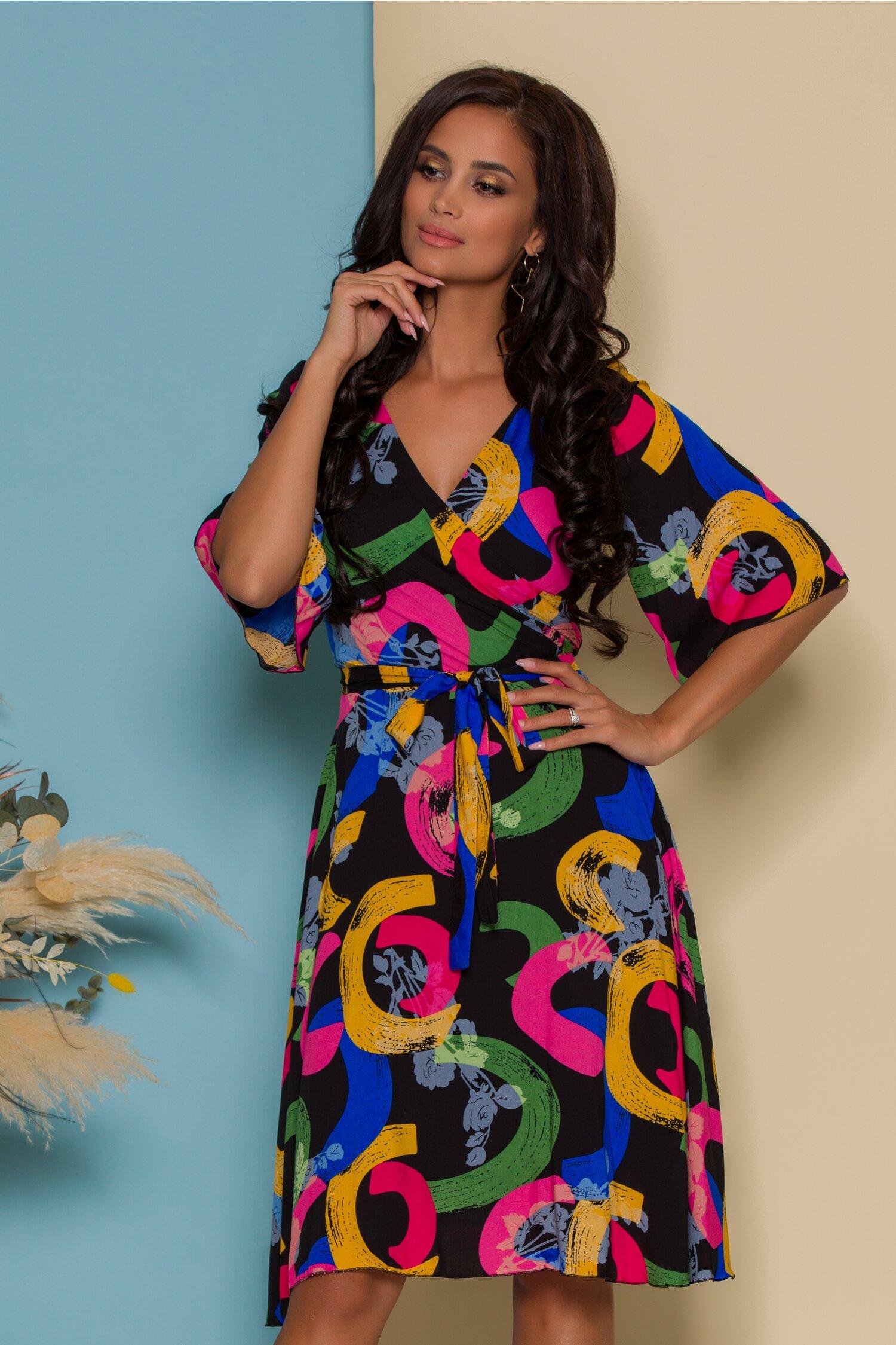 Rochie Ella Collection Simona neagra cu imprimeuri colorate