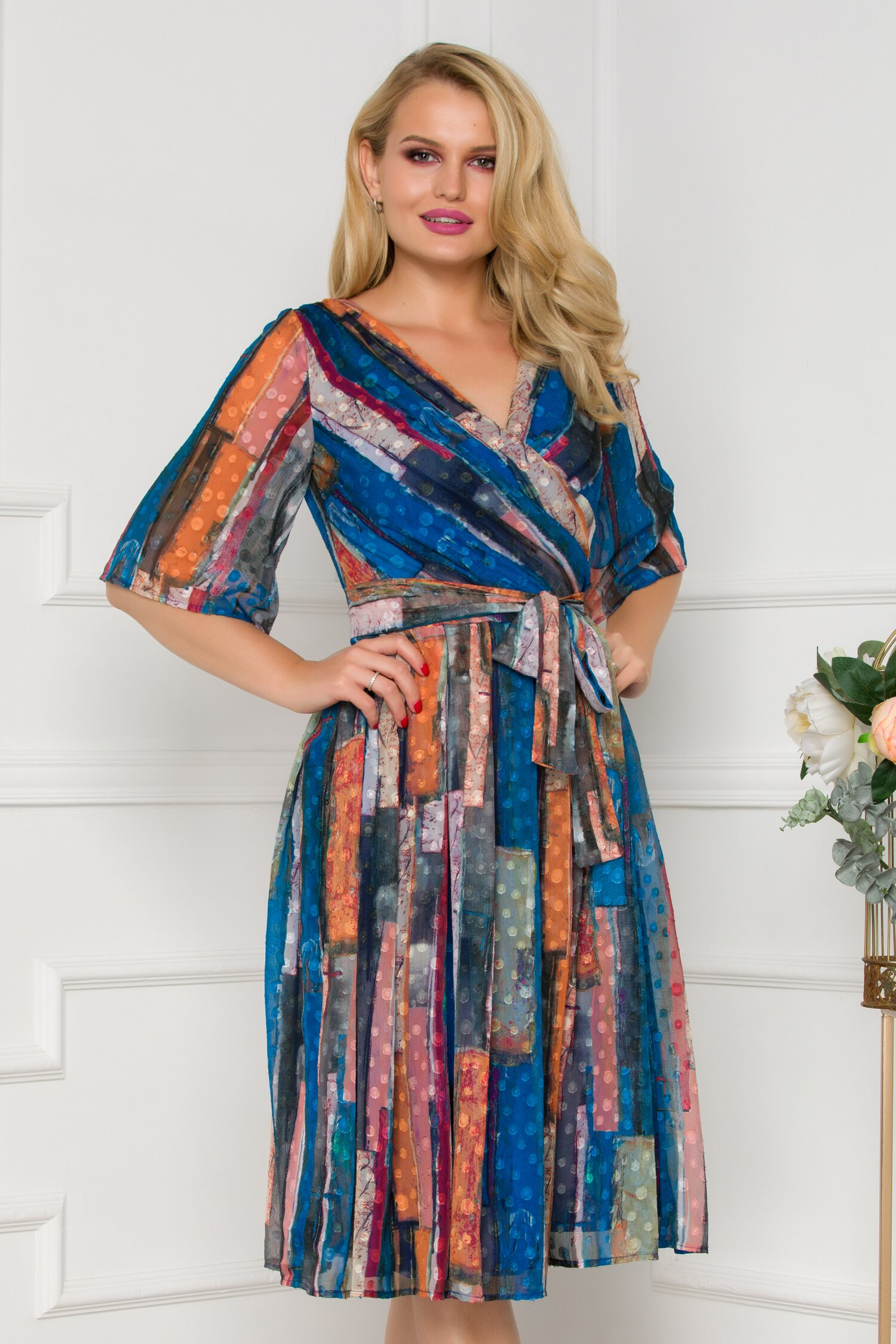 Rochie Ella Collection Smaranda albastra cu imprimeu geometric multicolor