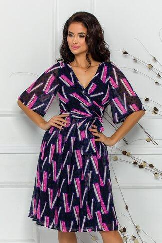 Rochie Ella Collection Smaranda negra cu imprimeu geometric in nuante de beige si roz
