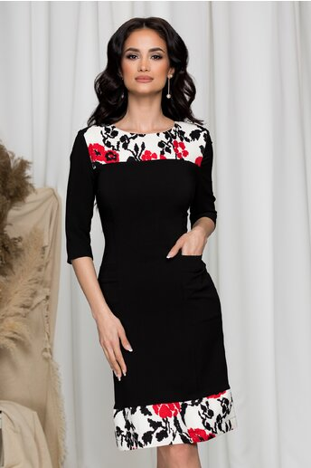 Rochie Ella Collection Sofia neagra cu imprimeu floral si buzunare