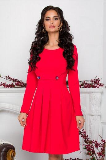 Rochie Ella Collection Sonia rosie cu pliuri si nasturi imprimati