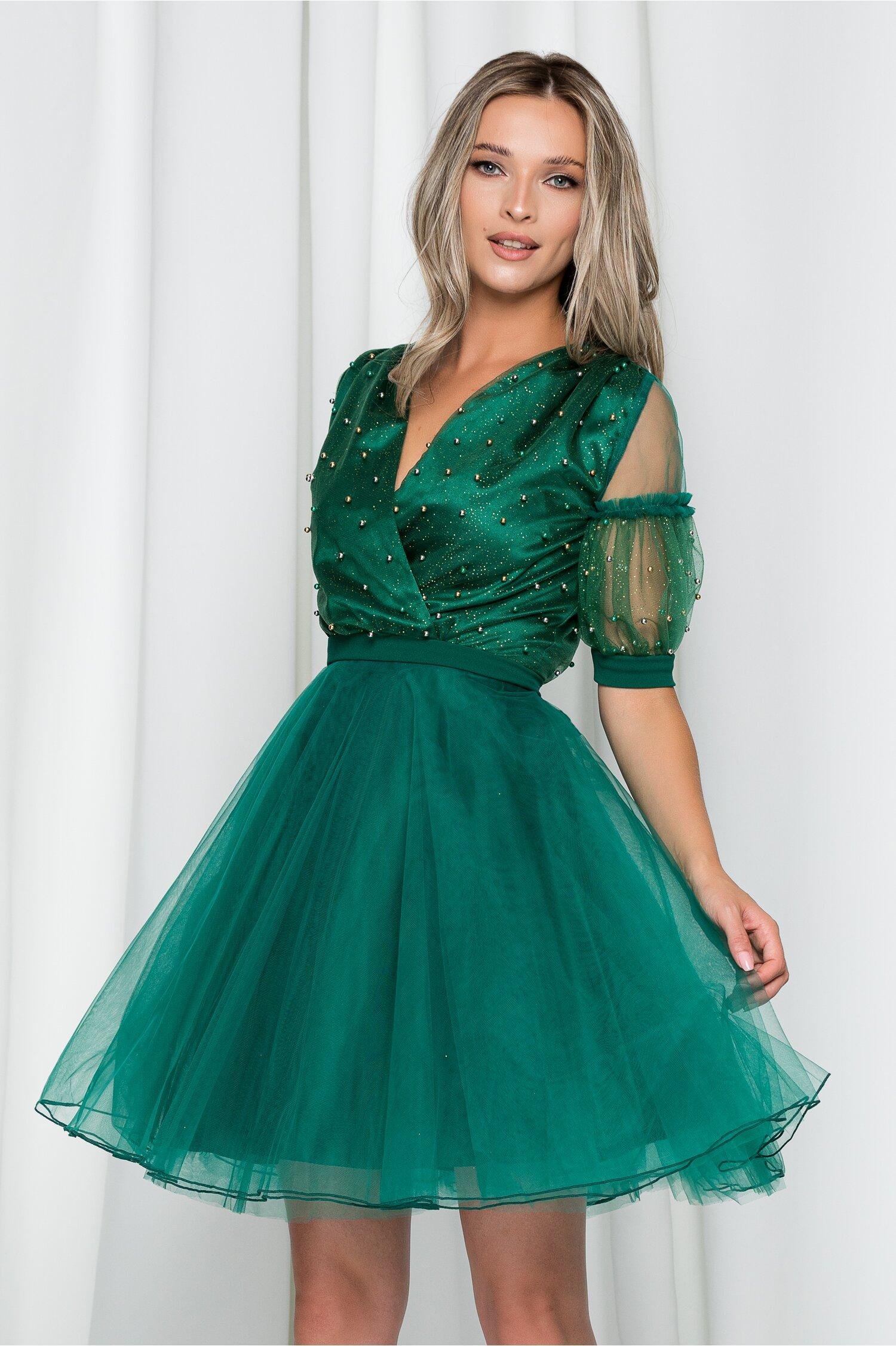 Rochie Ella Collection Stela verde cu decolteu petrecut in v si perlute