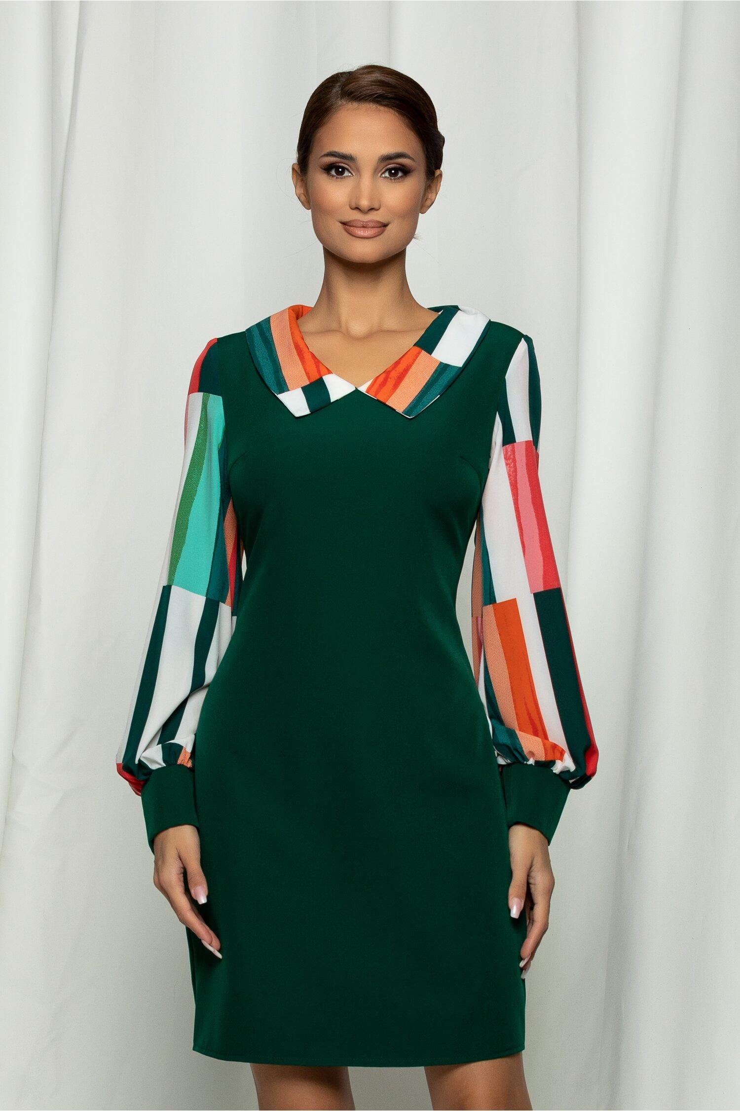 Rochie Ella Collection Tania verde cu imprimeu pe maneci si guler