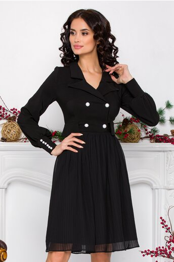 Rochie Ella Collection Tess neagra cu fusta plisata si nasturi la bust