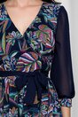 Rochie Ella Collection Violet bleumarin cu imprimeuri colorate si volanase la baza
