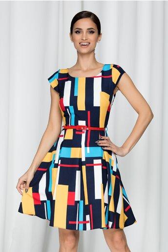 Rochie Ella cu imprimeuri colorate cu galben si negru
