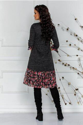 Rochie Ella gri din tricot cu volan imprimat floral la baza