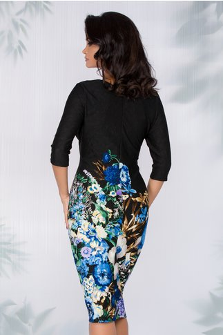 Rochie Ellen neagra cu imprimeu floral in nuante de albastru la baza