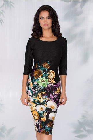 Rochie Ellen neagra cu imprimeu floral multicolor la baza