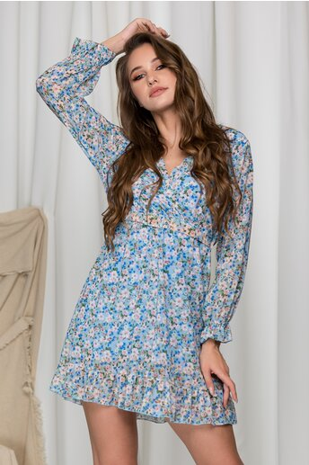 Rochie Elli bleu cu imprimeuri florale