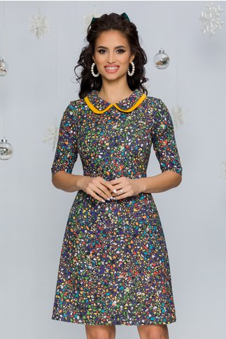 Rochie Ellie gri cu imprimeuri multicolore