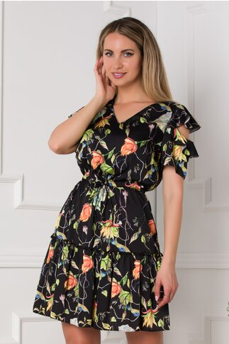 Rochie Ellie neagra cu imprimeuri florale