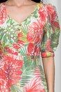 Rochie Elly alba cu imprimeu exotic colorat