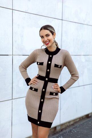 Rochie Elly beige tricotata