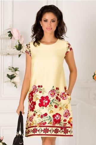 Rochie Elly galbena cu imprimeuri florale rosii