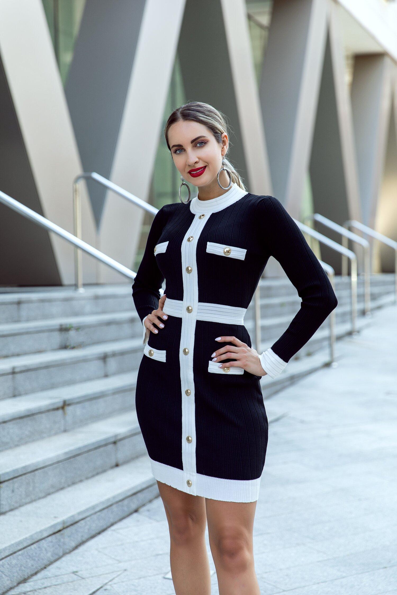 Rochie Elly neagra tricotata