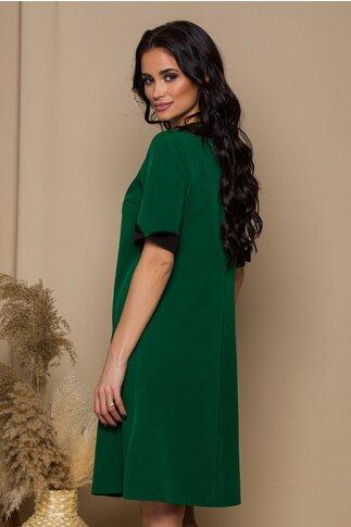 Rochie Elly verde cu pliu maxi si guler clasic