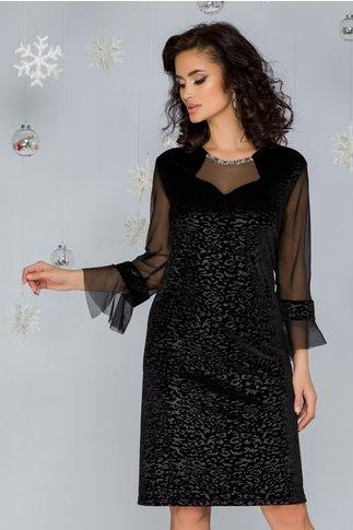 Rochie Ema neagra din catifea cu model animal print