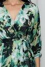 Rochie Ema verde cu decolteu petrecut si maneci lungi