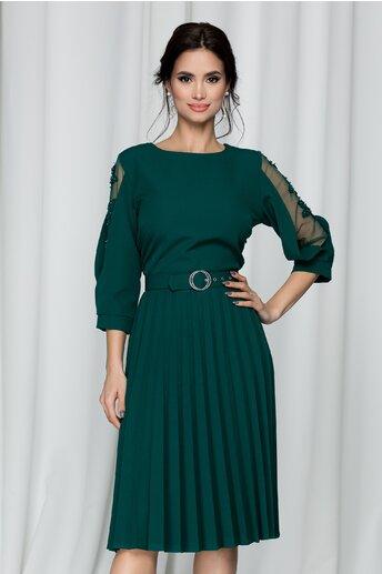 Rochie Emily verde cu decolteu rotund si pliuri pe fusta
