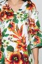 Rochie Emma alba cu maneci trei sferturi tip clopot si imprimeu floral