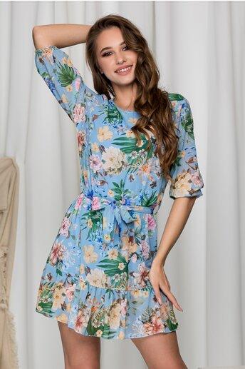 Rochie Emma bleu lejera cu imprimeu floral