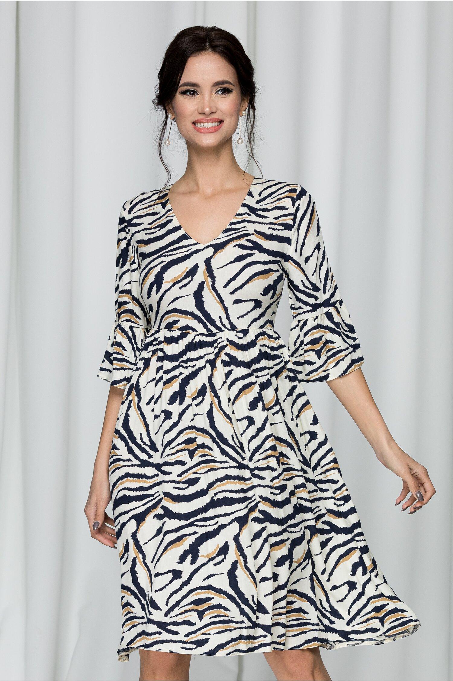Rochie Emma ivory cu animal print zebra