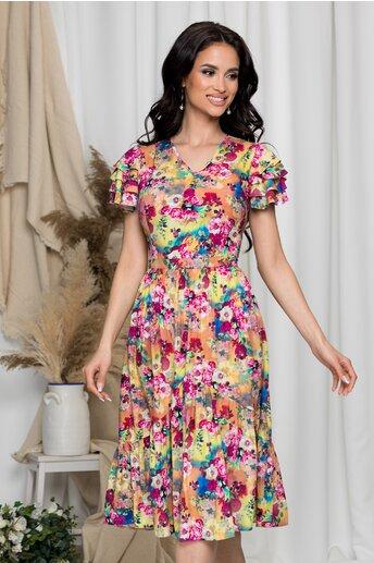 Rochie Enisa galbena cu imprimeu floral colorat si volanase la maneci
