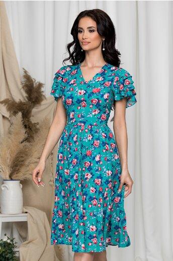 Rochie Enisa turcoaz cu imprimeu floral colorat si volanase la maneci