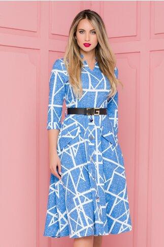 Rochie Eny albastra cu imprimeu geometric alb si nasturi maxi la baza