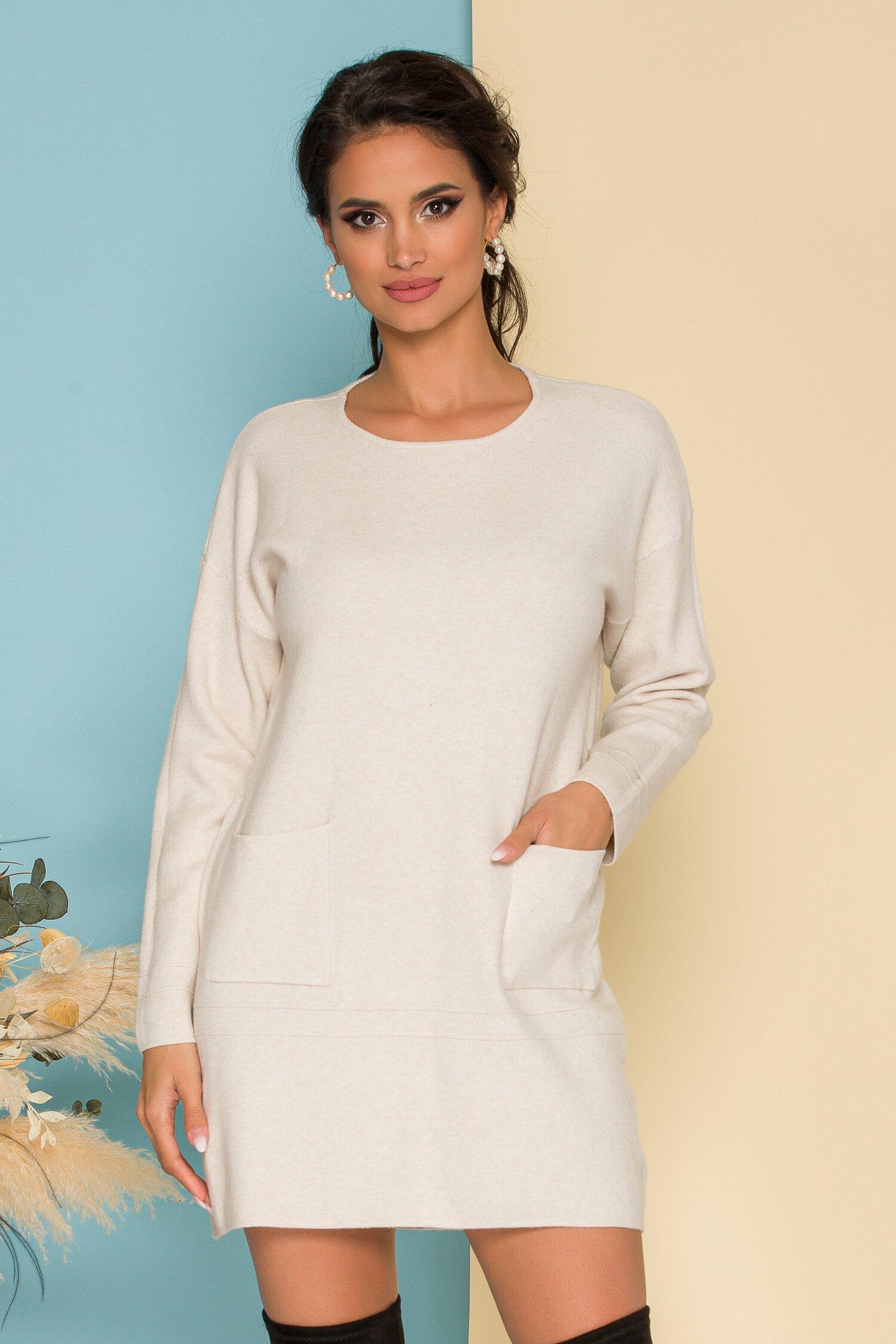 Rochie Erica ivory din tricot cu buzunare in fata imagine