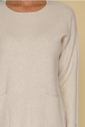 Rochie Erica ivory din tricot cu buzunare in fata