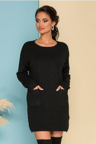Rochie Erica neagra din tricot cu buzunare in fata